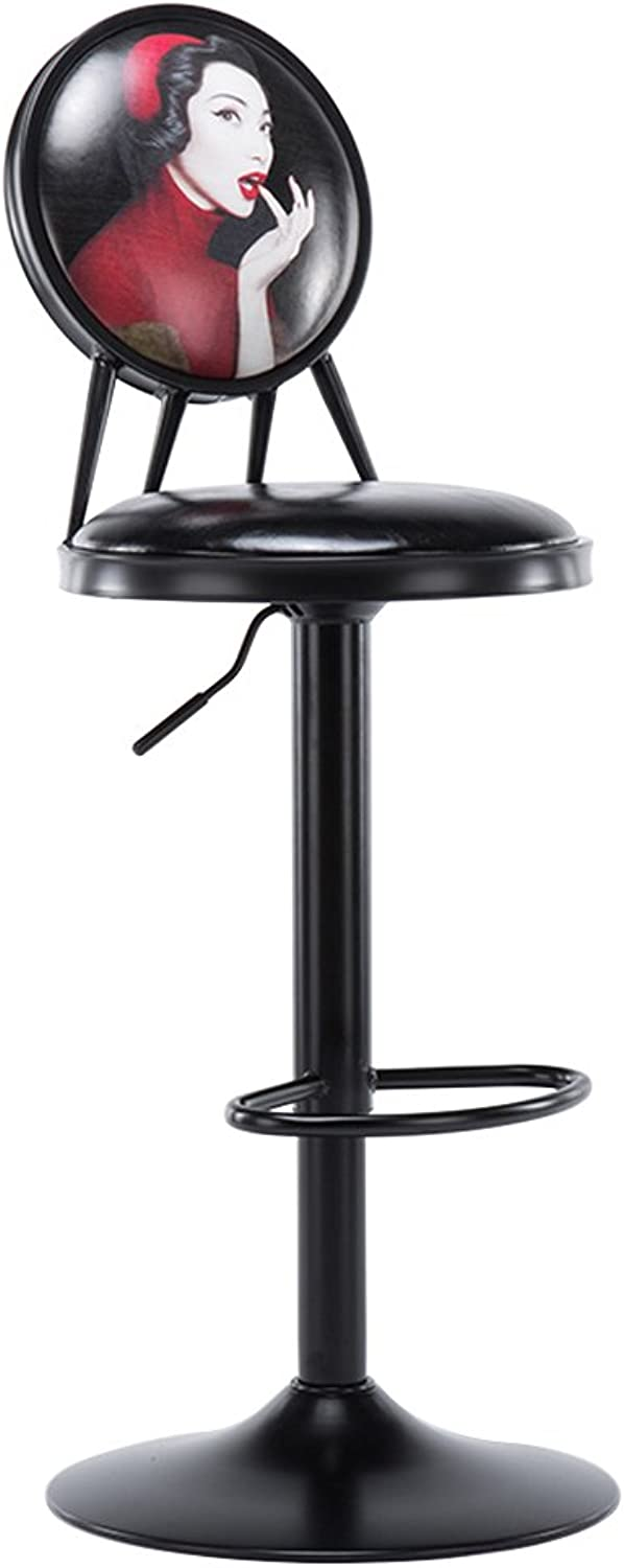 Nationwel@ Retro Iron Bar Stools with Crescent Shaped Backrest Adjustable Height Strong Iron Base Max Load 180 kg for Kitchen Bar Counter (color   9, Size   45cmx45cmx96cm)