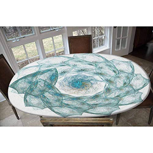 LCGGDB Elastic Polyester Fitted Table Cover,Flower Shaped Spiral Digital Vortex Pattern with Hazy Colored Elements Artistic Image Oblong/Oval Dinner Fitted Table Cloth,Fits Tables up to 48' W x 68' L