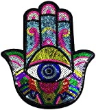 Iron on or Sew on Sequin Hand Eyes Patch Embroidered Badge Motif Applique Compatible Clothing Jeans T-Shirt (Colorful Hand)