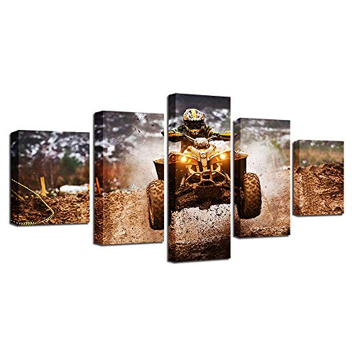 Canvas Wall Art Cross country quad ras Pictures extreme sporten Poster voor kantoor aan huis Decor 5 Panel met framed Ready to Hang,16x24in*2+16x32in*2+16x40in*1