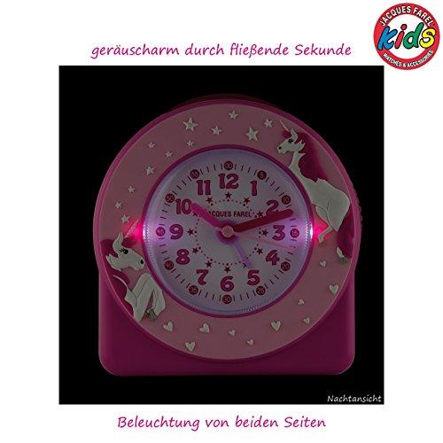 Jacques Farel ACW50 Réveil analogique à quartz pour enfant/fille Motif de licornes et étoiles en 3D Rose vif/rose clair Réveil sans tic-tac et avec fonction snooze