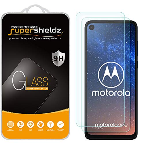 (2 Pack) Supershieldz for Motorola One Vision and One Action Tempered Glass Screen Protector, Anti Scratch, Bubble Free