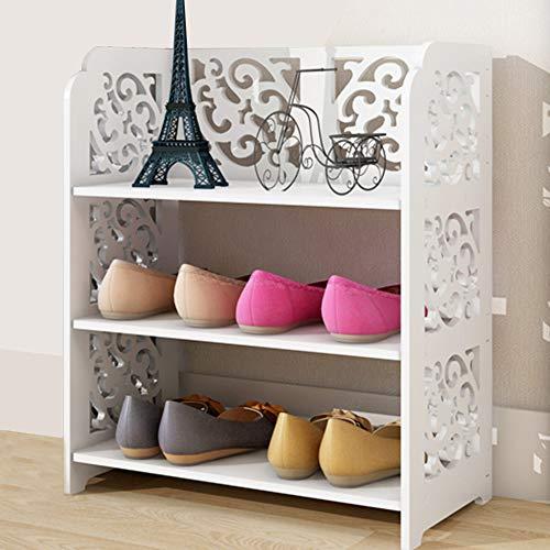 Queiting 3 Tier Shoe Rack Wood Shabby Chic Corner Shelf Unit Storage Bookcase Display Stand White