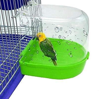 kathson Parrot Bath Box Bird Cage Accessory Supplies Bathing Tub Bath for Pet Brids Canary Budgies Parrot (Random Color)