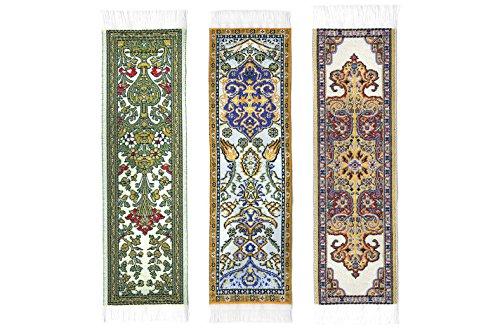 Oriental Carpet Woven Fabric Bookmark - Beige Collection - 3 bookmark designs - Beautiful, Elegant, Cloth Bookmarks! Best Gifts & Stocking Stuffers for Men,Women,Teachers & Librarians!