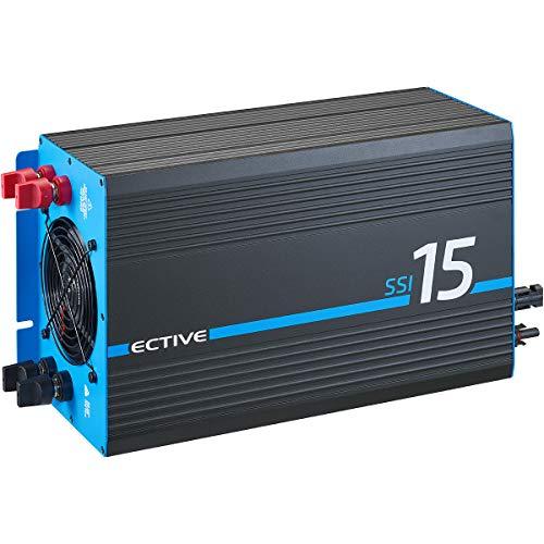 ECTIVE 1500W 12V zu 230V Reiner Sinus-Wechselrichter SSI 15 mit MPPT-Laderegler, Batterie-Ladegerät, NVS- und USV-Funktion