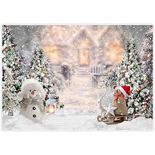 Allenjoy 7x5FT Noël Hiver Bonhomme De Neige Toile De Fond pour La Photographie Arbre De Noël Neige Cadeaux Flocon De Neige Christmas Winter Backdrop Décoration Bannière pour Baby Shower Anniversaire