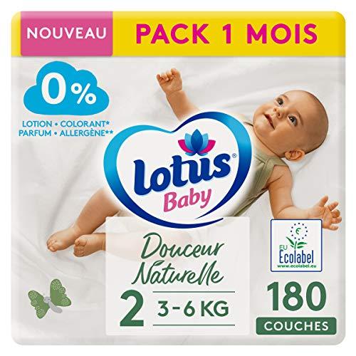 LOTUS BABY Douceur Naturelle - Couches Taille 2 (3-6 kg/Nouveau-né) Pack 1 mois - 180 couches