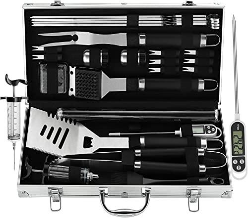 grilljoy 25PC Hochleistungs Grillbesteck im Koffer - Edelstahl Grillkoffer für Männer - Ideales Grillset Geschenk am Vatertag, Geburtstag, Weihnachten