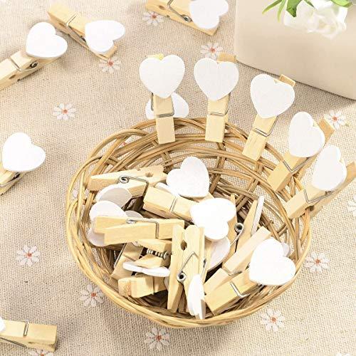 AWinEur 40 Stück Mini-Fotoklammern mit Herzmotiv, aus  Holz, für Fotos, Hochzeiten, Dekoration, zum Basteln; Weiß
