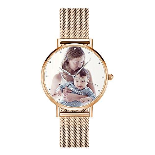 Soufeel Personalisierte Foto Armbanduhr für Damen Herren Analog Metallarmband Klassisch Zifferblatt Wasserdicht