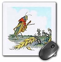 3droseヴィンテージカラーでAnt N The Grasshopper–マウスパッド、8× 8インチ(MP 119614_ 1)