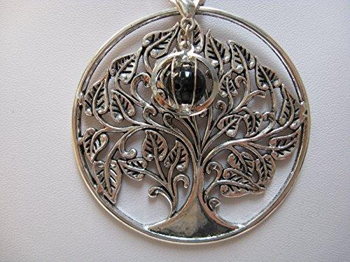 Natural mente – Pendentif Arbre de Vie, la pierre + 1 Chakra, pendentif pour collier, amulette, arbre de vie, avec bandeau plastique, pierres précieuses, n ° 127