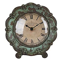 NIKKY HOME Shabby Chic Pewter Table Clock,Green