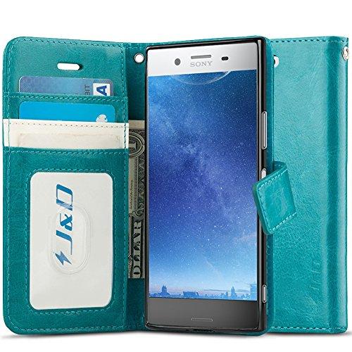 J&D Compatibile per Cover Xperia XZ Premium, [Portafoglio Stand] [Sottile Adatta] Protettiva Robusta Antiurta Flip Custodia per Sony Xperia XZ Premium - [Non per Sony Xperia XZ 6] - Turchese