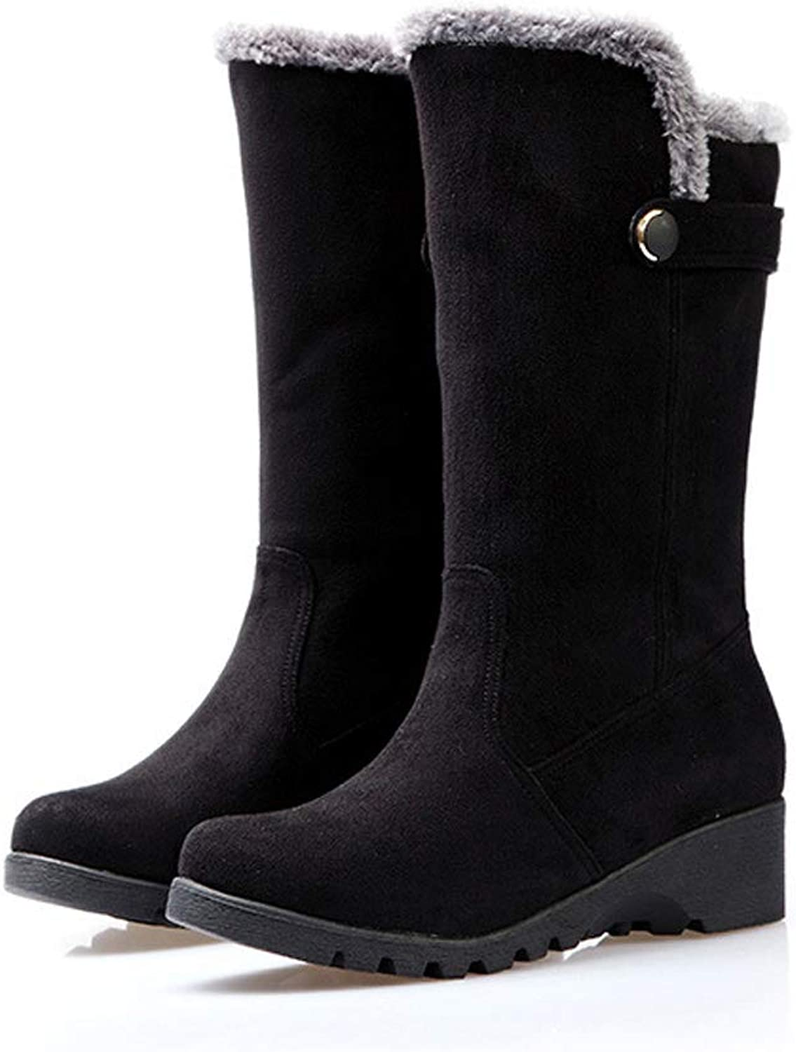 Womens Boots Winter Warm Soft Mid-Calf Riding Boots Slip On Wedge Heel Outdoor shoes (Black Brown)
