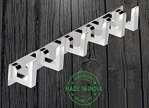Nestland 6 Pin Wall Hook Hanger, Hooks Hanger Door, Wall, Bedroom, Bathroom Robe Hooks Rail for Hanging Clothes, Keys, Bags, Keys, Towel in Room, Utensil Rack Kitchen Hanger Hooks for Cup - Set of 2
