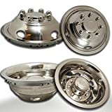 OxGord Wheel Simulators 17' Dually for 03-20 Dodge Ram 3500 (Pack of 4) 304L Stainless Steel 17 Inch Wheels Simulator - Truck Accessories Best for Pick-up Trucks Hub Caps Rim Skin Chrome Cover Parts
