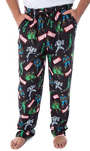 Marvel Men's' Vintage Comic Villains Thanos Red Skull Hela Ultron Allover Pattern Lounge Sleep Pajama Pants (SM)