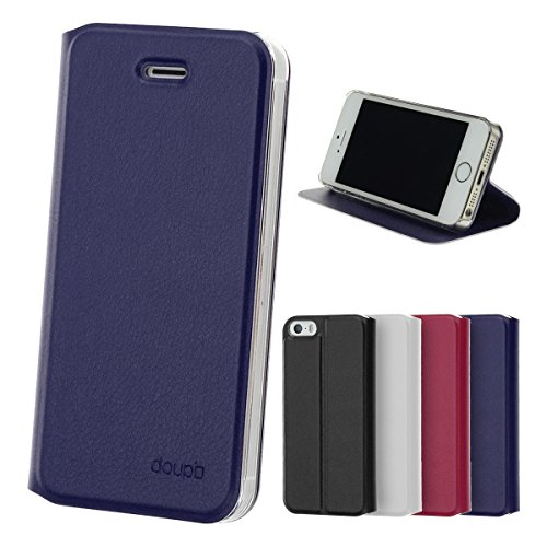 doupi Flip Case für iPhone 4 / 4S, Deluxe Schutz Hülle mit Magnetischem Verschluss Cover Klappbar Book Style Handyhülle Aufstellbar Ständer, blau