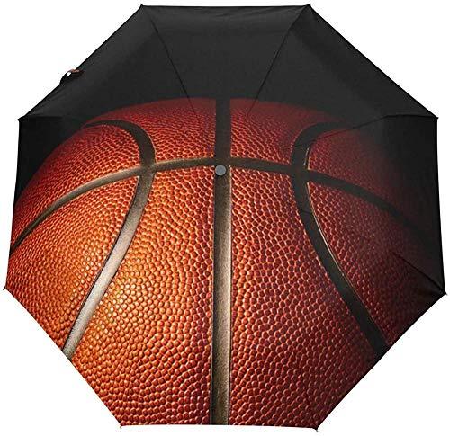 El viaje de baloncesto abre y cierra automáticamente el paraguas, paraguas plegable a prueba de rayos UV, a prueba de viento, liviano y compacto