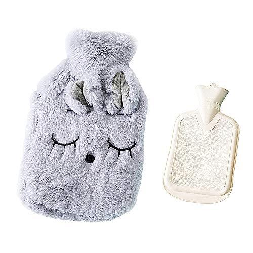 Drizzle Bolsa de agua caliente Bolsa Goma con cubierta de forro polar suave Serie de animales (Mimi gray)