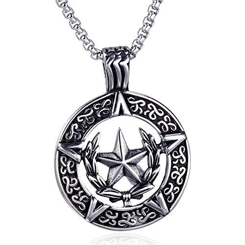 UMtrade Jahrgang Edelstahl Herren Kraftvoll Amulett Pentacle Anhänger Star Pentagramm Halskette