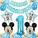 FANDE Palloncini Party Minnie, Forniture per Feste di Compleanno di Topolino Topolino e Minnie Articoli per Feste Ghirlanda di Banner per Baby Shower Decorazio(Blu)