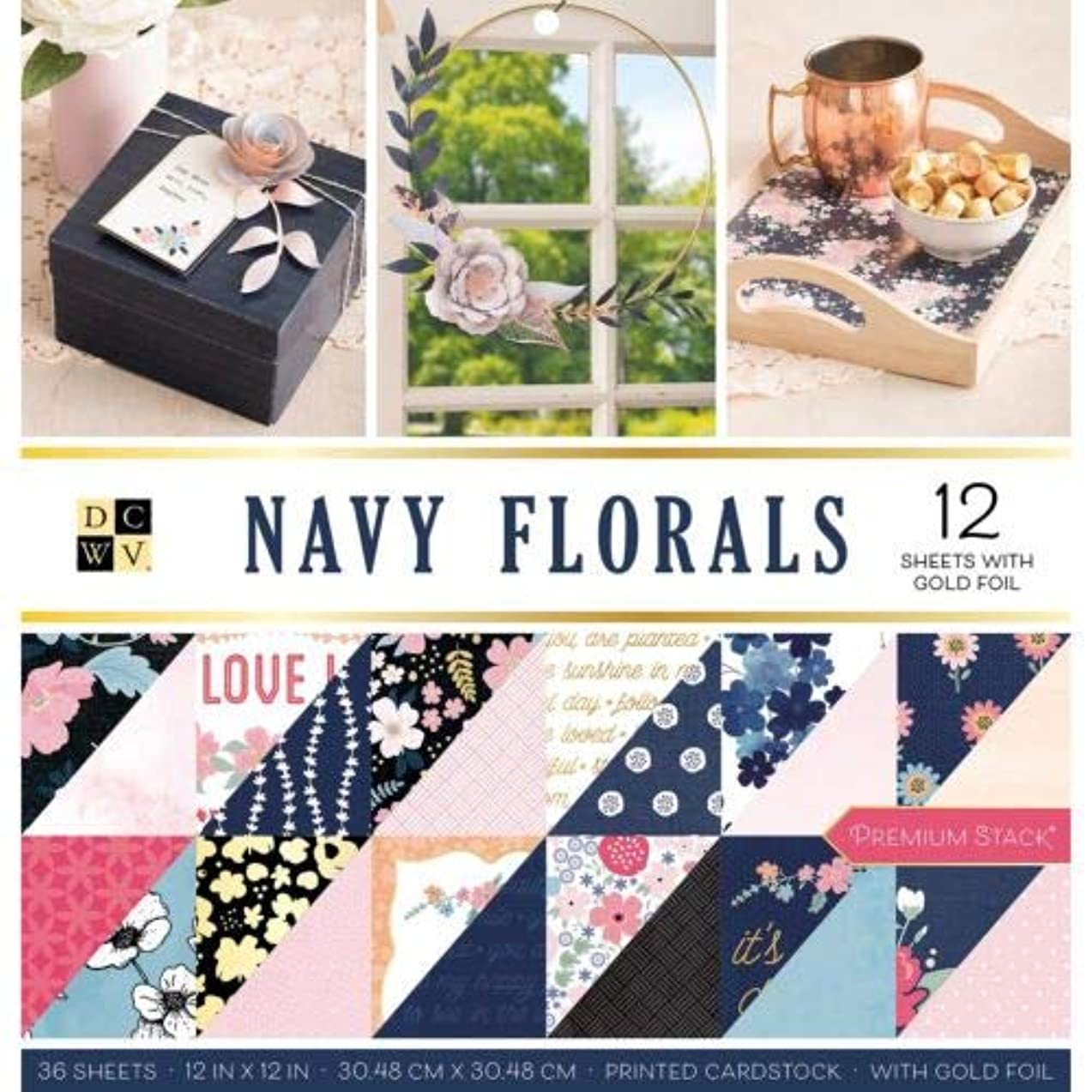 Die Cuts With a View 609069 Stack 12x12 Navy Floral FG