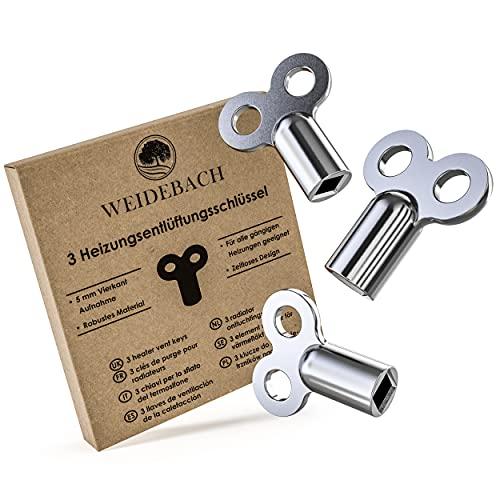 3x WEIDEBACH® Heizungsentlüftungsschlüssel, für alle Heizkörper Entlüftungsschlüssel, ROBUST & STABIL, mindert Geräusche, Entlüfter Heizung