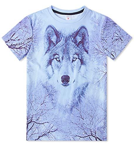 FanientJungen Mädchen Teenager Sommer Shirt 3D gedruckt Wolf Grafik T-Shirts Unisex Kurzarm Top T-Shirts