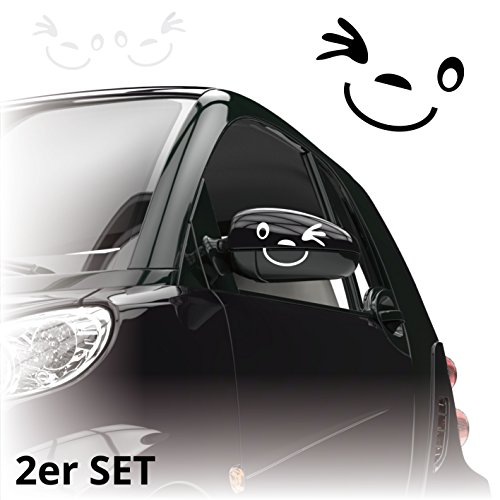 Gesicht Autoaufkleber *** 2er Set *** Aufkleber für Auto Spiegel Außenspiegel Smile | A00076