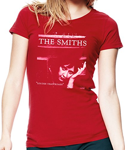 de Morrissey and The Smiths The Smiths Louder Than Bombs Camiseta para Mujer. Rojo/2XL