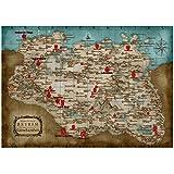 Skyrim Map Elder Scrolls Game Posters e impresiones Decoración para el hogar Arte de la pared Cuadro decorativo en lienzo Pintura para sala de estar-50x70cm Sin marco