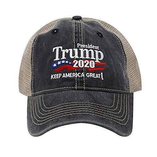 2020 Make America Great Again Donald Trump Slogan con Beautiful USA Flag Berretto da Baseball per Uomo Donna Ragazza Boy Regolabile, Rosso e Nero azurely Hat