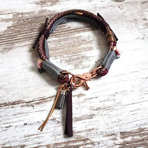 Hundehalsband *Vagabond* Burlesque – Boho-Stil – Halsband für Hunde – 100% Handmade & Unique – Tauwerk aus 100% reiner Baumwolle & hochwertiges Rindslederband
