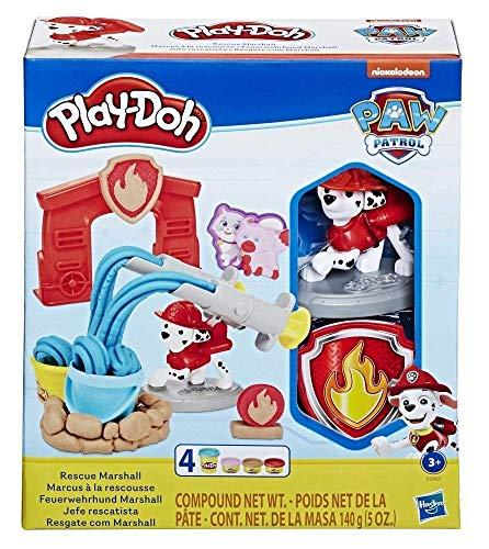 Play-Doh E6887EU5 PAW Patrol Feuerwehrhund Marshall, Spielzeug Figur und Knetwerkzeug mit 4 Farben Knete für fantasievolles und kreatives Spielen