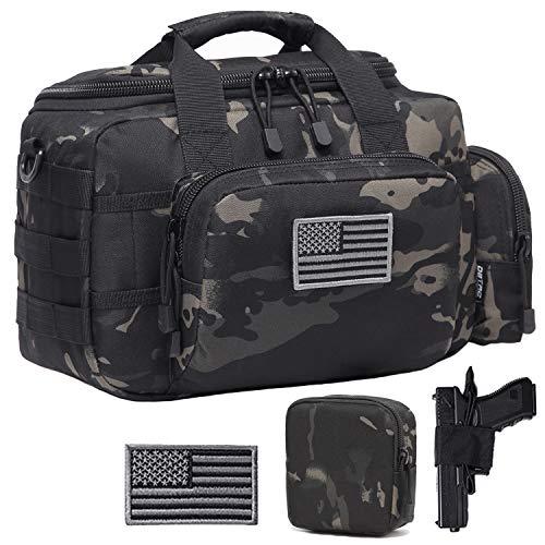 DBTAC Gun Range Bag Small | Tactical 2X Pistol Shooting Range Duffle Bag with Lockable Zipper for Handguns and Ammo (Black Camo)
