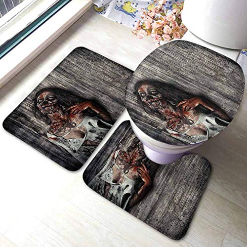 Zombie 3 Piece Microfiber Bathroom Rug Set, Extra Soft Memory Foam Bath Mats Angry Dead Woman Contour Mat and Lid Cover