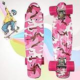 Pro Skateboards Complete 22 Pulgadas Mini Cruiser Retro Skateboard para niños niñas niños jóvenes Principiantes,V