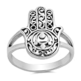 Filigree Hand of God Hamsa Ring New .925 Sterling Silver Band Size 8