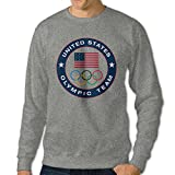 Men's U.S. Olympic Team Logo Long Sleeve Crew Neck Pullover T Shirts Ash US Size L