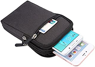 DFV mobile - Universal Multi-functional Vertical Stripes Pouch Bag Case Zipper Closing Carabiner for => UMIDIGI ONE PRO (2018) > Black (17 x 10.5 cm)