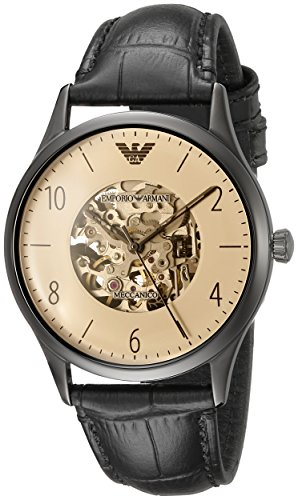 Emporio Armani Reloj Esqueleto para Hombre de Automático con Correa en Cuero AR1923
