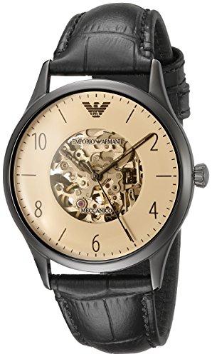 Emporio Armani Herren Skeleton Automatik Uhr mit Leder Armband AR1923