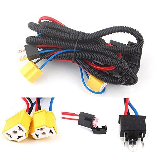 H4 Phare Fix de faible luminosité Relais Faisceau de câblage Système 2 ampoule lampe frontale