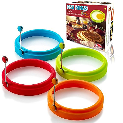 Egg Ring, Egg Rings Silicone Non Stick Round Cooking Pancake Mould(4Pcs Red )