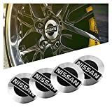Happy Shop Tapas para Llantas 1set Coche Wheel Stickers 56mm Auto Center Hub Cap Decal Compatible con Nissan Qashqai Juke X-Trail Tiida Teana Skyline Almera Altima Versa Cubierta Central