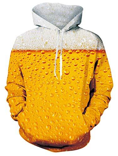 Freshhoodies Kapuzenpullover Herren Damen 3D Bier Bunt Druck Lustig Funky Bier Festival Grafik Hooded Sweatshirt Pullover Tops Gelb M