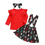 NEWLL Baby Girl Clothes Christmas Outfits for Toddler Girl 1-4T Long Sleeve + Skirt Newborn Baby Girls Christmas Dress Outfits Sets